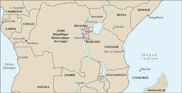 Carte Rwanda Burundi
