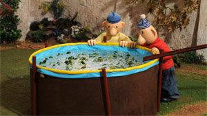image du film: piscine pleine d'eau et de feuilles