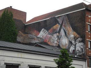 Fresque Bruxelles d'après Sacrifice d'Isaac du Caravage