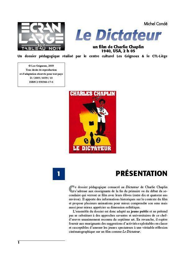 affiche du dossier Le Dictateur