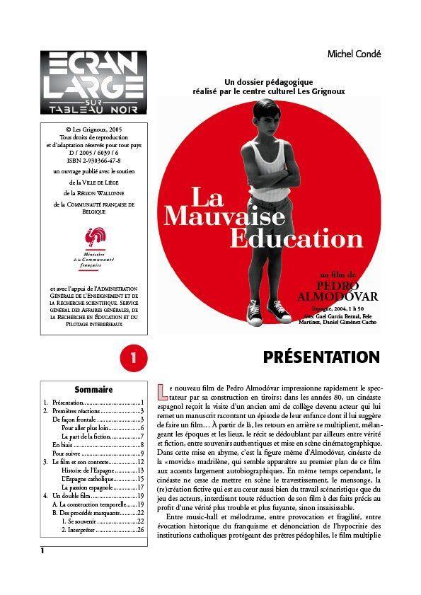 affiche du dossier La Mauvaise Éducation -  La Mala Educación