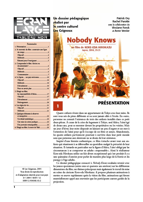 affiche du dossier Nobody Knows