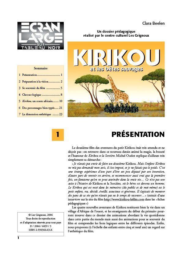 affiche du dossier Kirikou et les bêtes sauvages