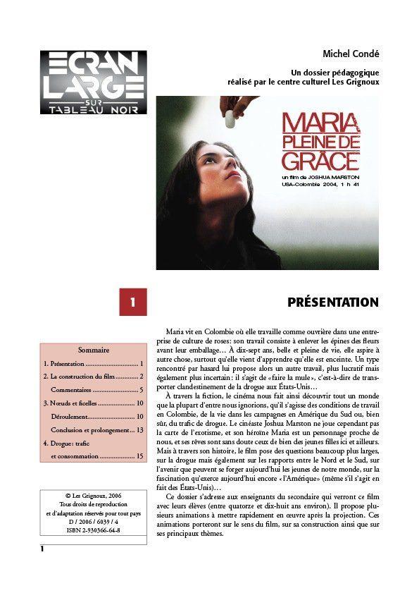 affiche du dossier Maria pleine de grâce