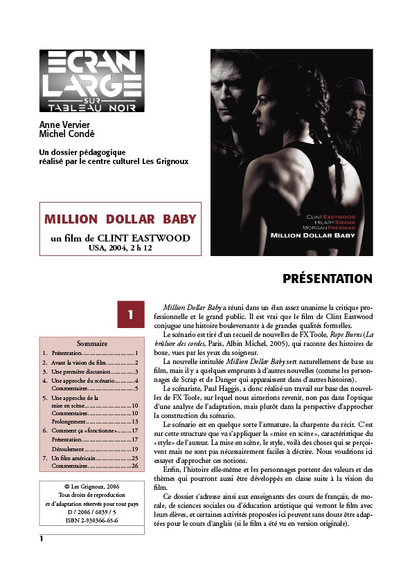 affiche du dossier Million Dollar Baby