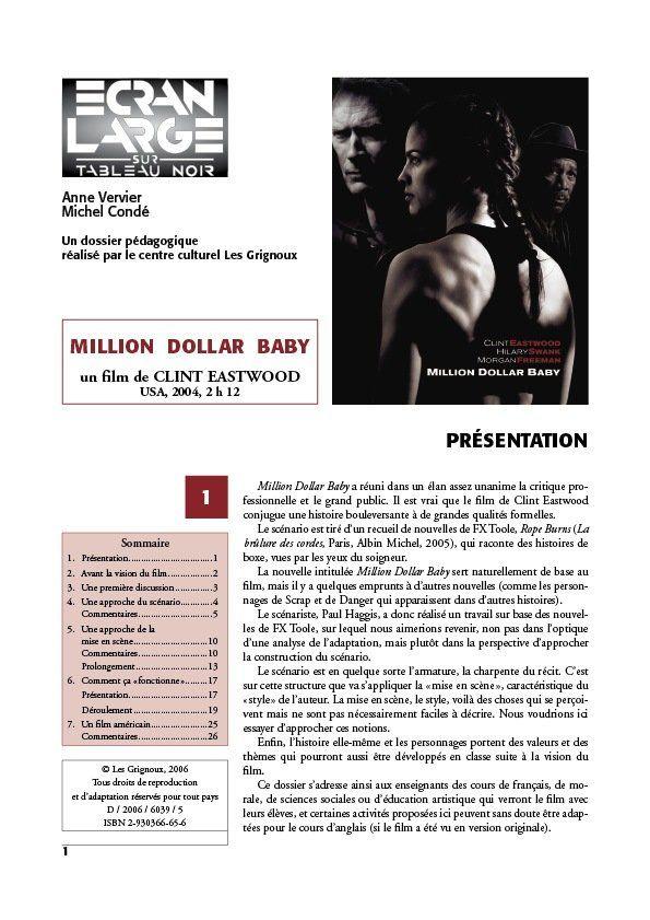 affiche du dossier Million Dollar Baby