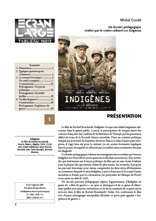 affiche du dossier Indigènes
