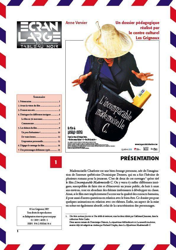 affiche du dossier L'Incomparable Mademoiselle C