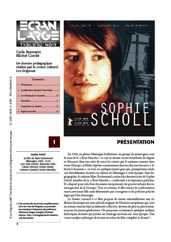 affiche du dossier Sophie Scholl
