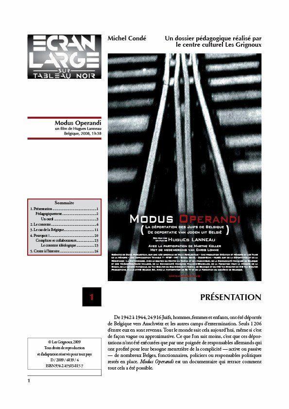 affiche du dossier Modus Operandi