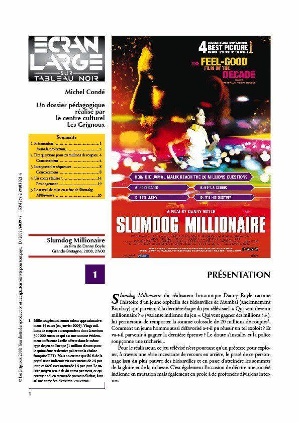 affiche du dossier Slumdog Millionaire