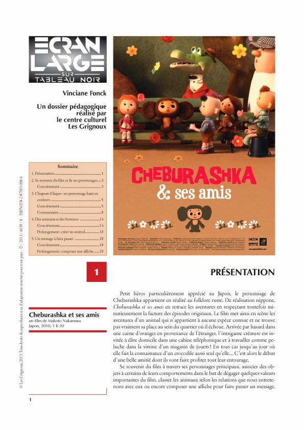 affiche du dossier Cheburashka et ses amis