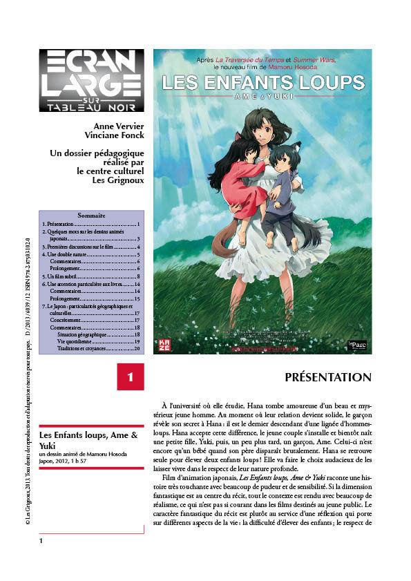 affiche du dossier Les Enfants loups, Ame & Yuki