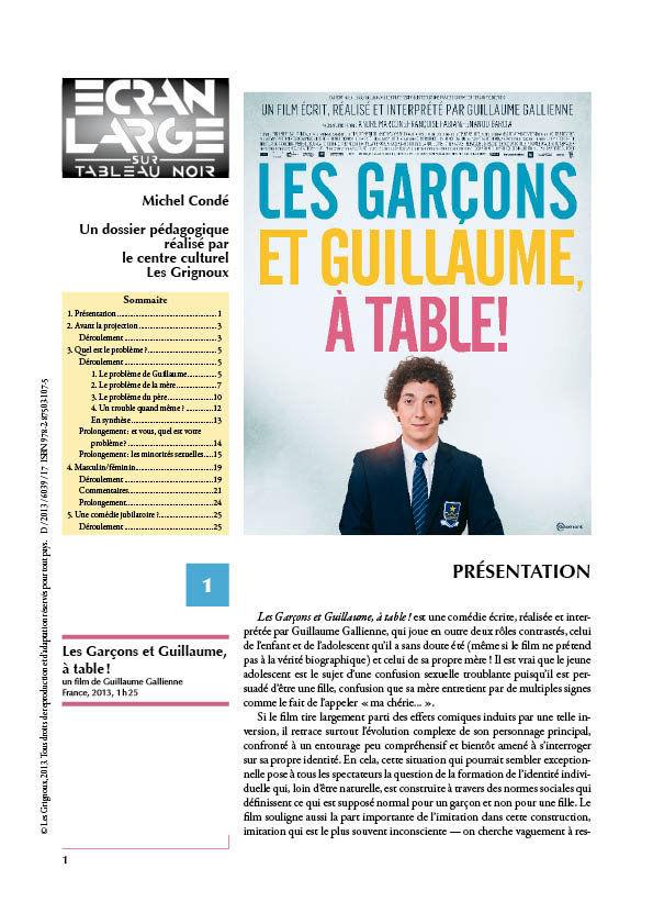 affiche du dossier Les Garçons et Guillaume, à table!
