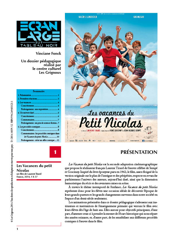 d36e42884c5fe7 Les Grignoux - Dossiers pédagogiques - Les Vacances du petit Nicolas