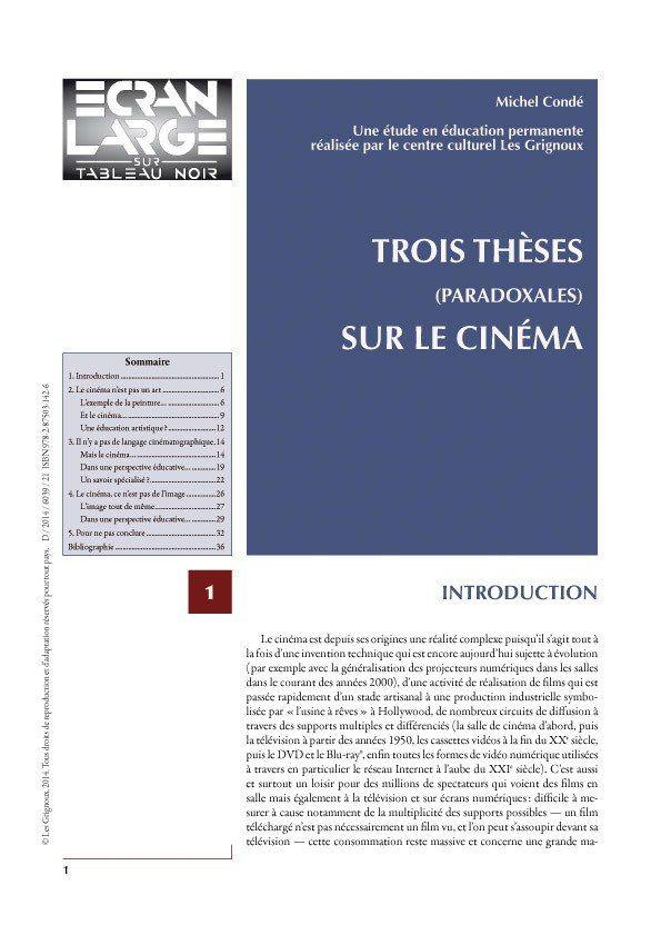 affiche du dossier Trois thèses (paradoxales) sur le cinéma