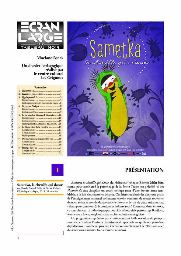 affiche du dossier Sametka, la chenille qui danse