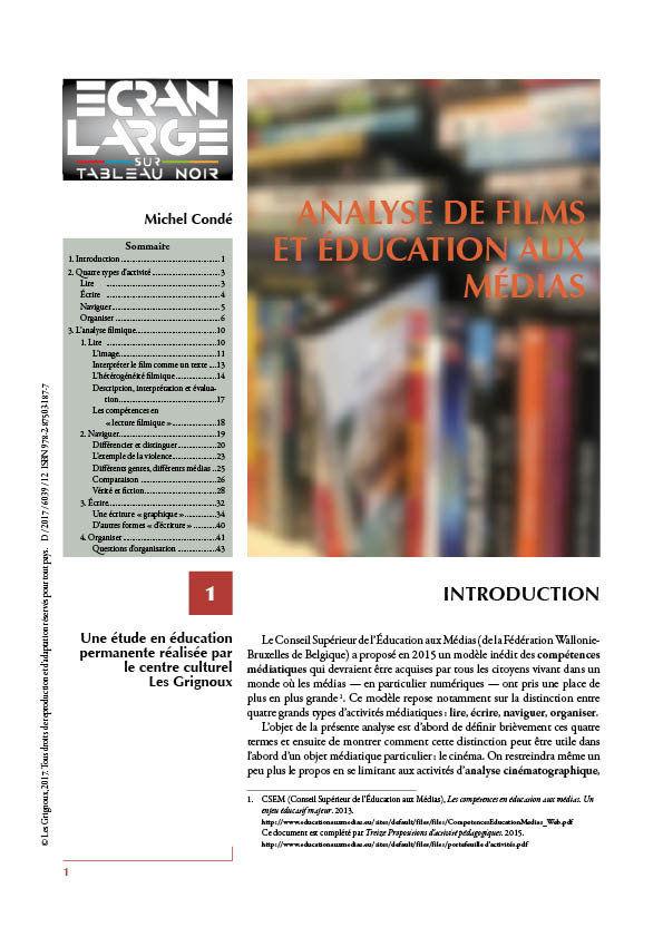 affiche du dossier Analyse de films et éducation aux médias