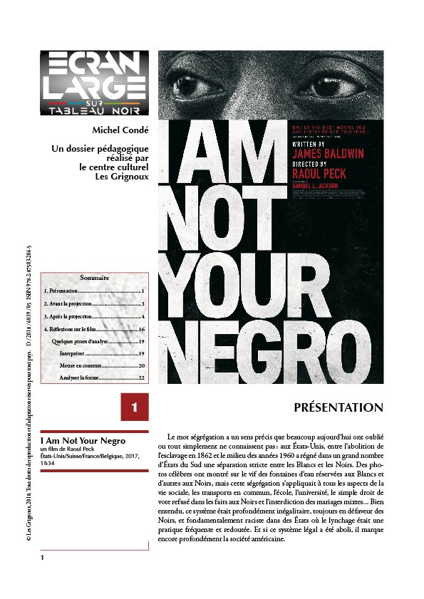 affiche du dossier I Am Not Your Negro