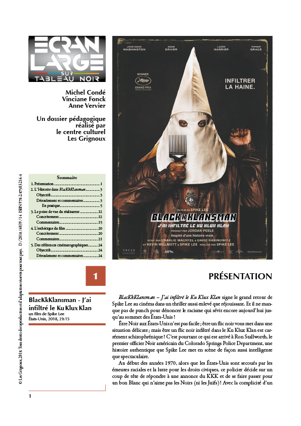 affiche du dossier BlacKkKlansman - J'ai infiltré le Ku Klux Klan