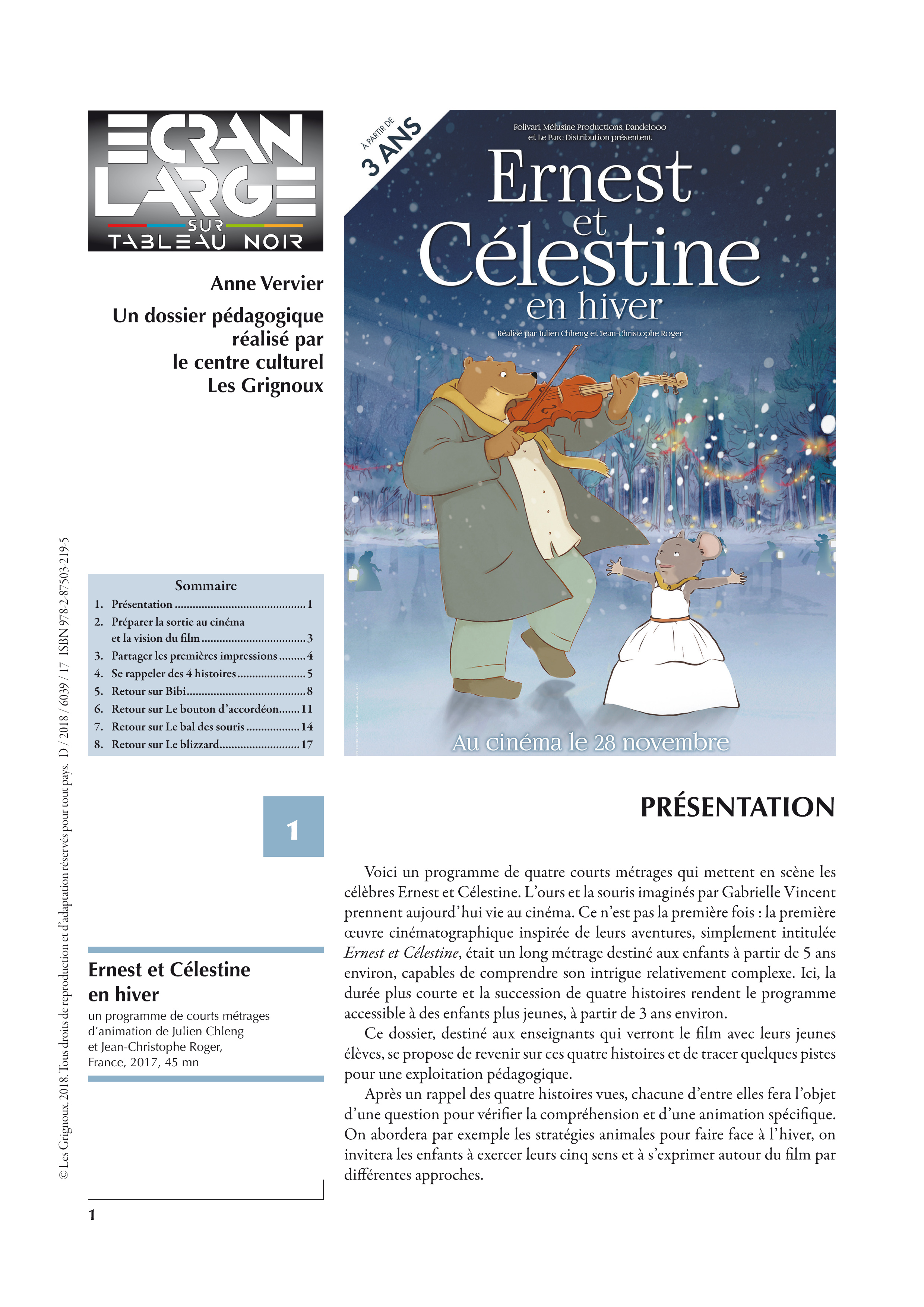 affiche du dossier Ernest et Célestine en hiver