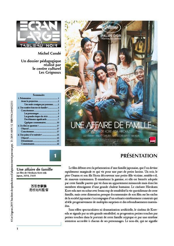 affiche du dossier Une affaire de famille
