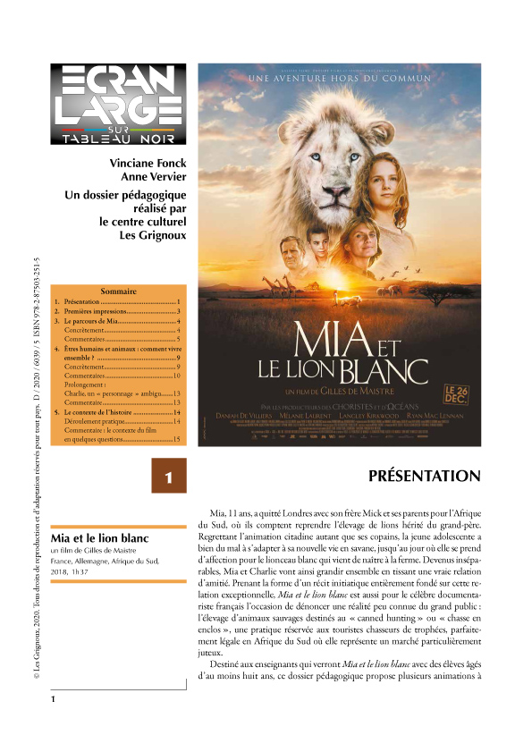 affiche du dossier Mia et le lion blanc
