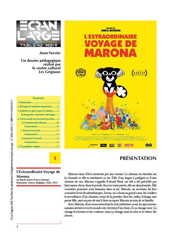 affiche du dossier L'Extraordinaire Voyage de Marona