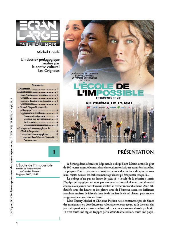 affiche du dossier L'École de l'impossible
