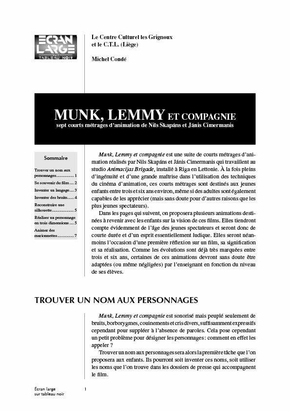 affiche du dossier Munk, Lemmy et cie