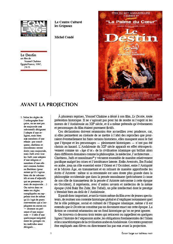 affiche du dossier Le Destin