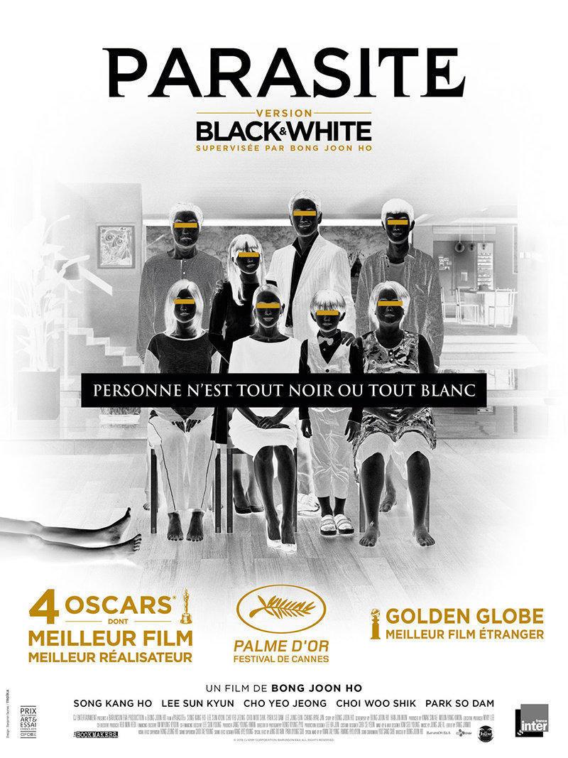 affiche du film Parasite (version noir et blanc)